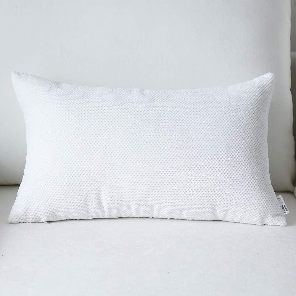 NATUS WEAVER Decorative Plush Waffle Weave Velvet Corduroy Oblong Pillowcase Accent Cushion Cover, 12 x 20 inch, White