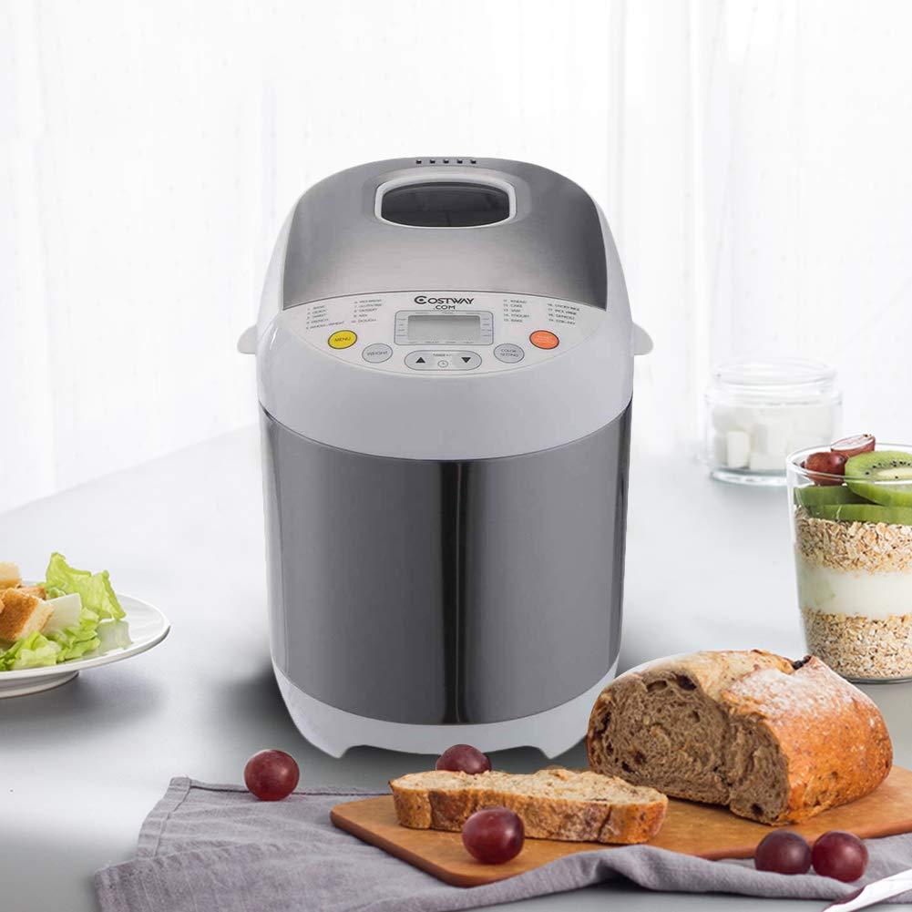 Safeplus Programmable Bread Machine Stainless Steel 2LB 550W Electric Gluten Free Whole Wheat Breadmaker