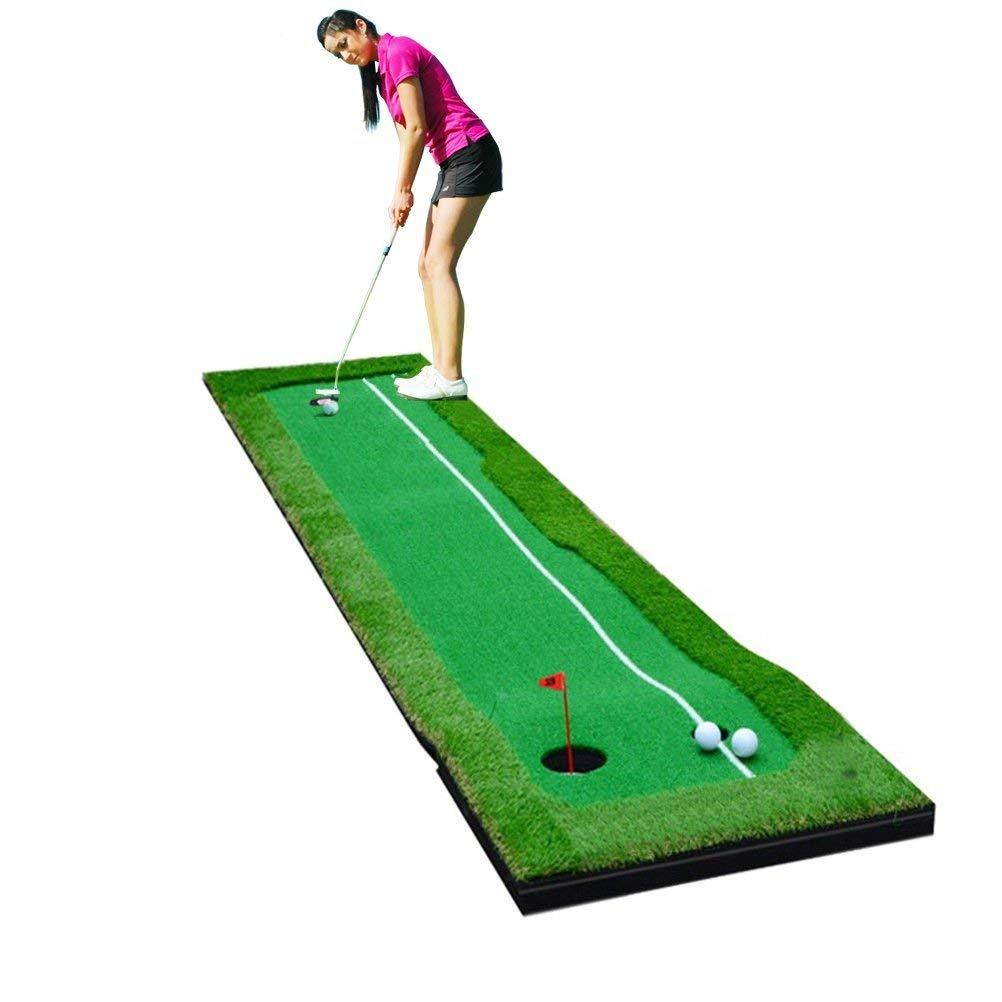 77tech Large Artificial Grass Golf Putting Green Mat Indoor/Outdoor Golf Training Aid Equipment Mat (1.6ftx10ft Green)