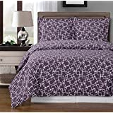 Purple and White Eva 8-piece California-King Bed-in-a-Bag 100 % Egyptian Cotton 300 Thread Count by Royal Hotel