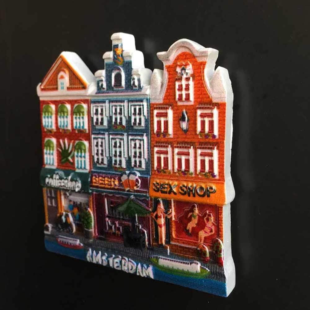 Wedare Magnet Souvenir Amsterdam Hollande 3D Aimant pour R/éfrig/érateur Touriste Souvenirs /À La Main R/ésine Artisanat Maison Cuisine D/écoration Pays-Bas R/éfrig/érateur Aimant Collection Cadeau