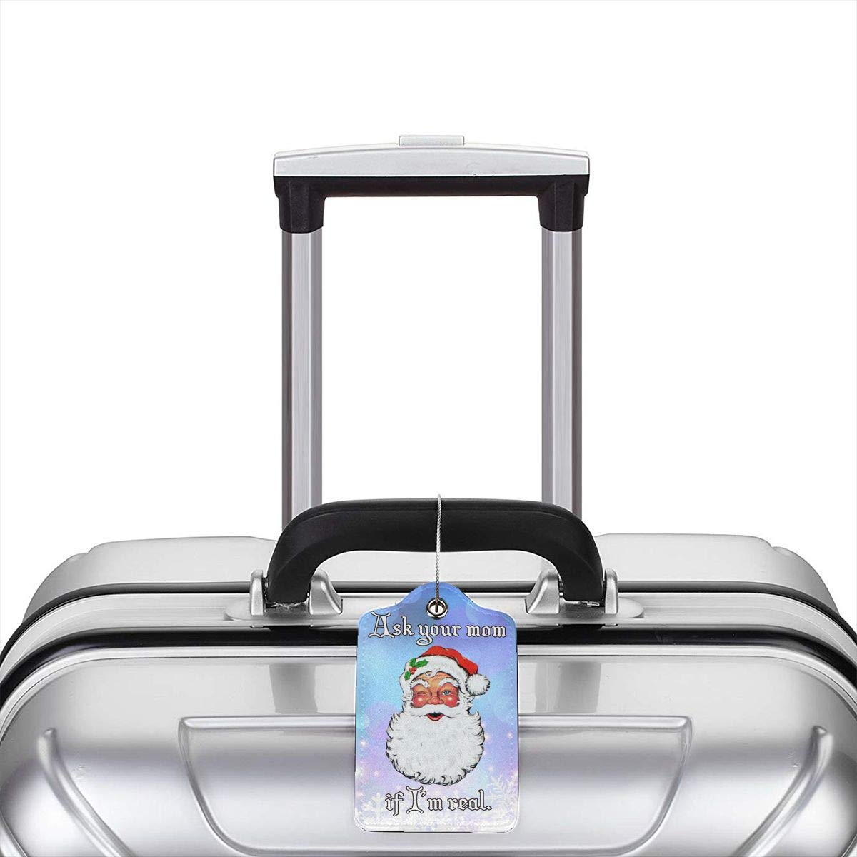 Christmas Ask Your Mom If Im Real Travel Luggage Tags With Full Privacy Cover Leather Case And Stainless Steel Loop
