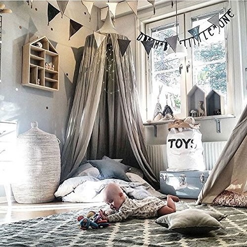 Princess Bed Canopy Mosquito Net for Kids Baby Crib, Round Dome Kids Indoor Outdoor Castle Play Tent Hanging House Decoration Reading nook Cotton Canvas Height 240cm / 94.9 inch (Grey) (Grey)