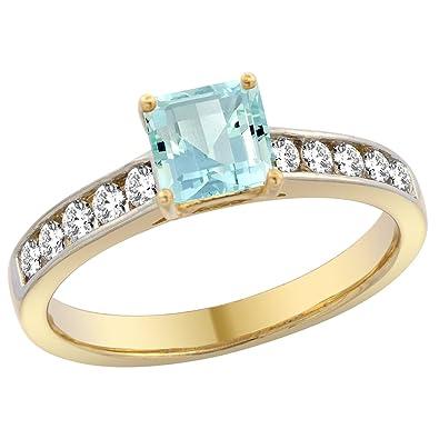 Princess Cut Aquamarine Engagement Ring