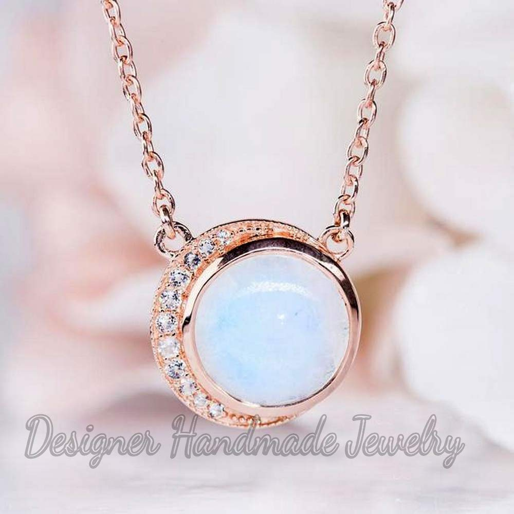Rainbow Moonstone Necklaces for Women Silver Necklace Moonstone Necklace Moonstone Jewlery Crystal Necklace