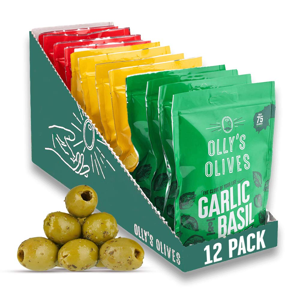 OLLY'S Olives: Variety Pack Green Olives (12 x 50g) - Healthy Vegan Snacks - Keto - Low Calorie - 12 x 50g Pouches