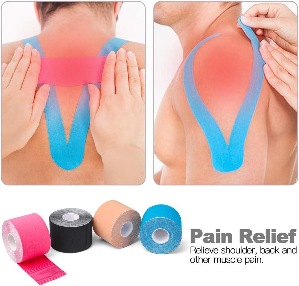"""Ankle Beige Sports Tape for Muscle Latex Free LotFancy Kinesiology Tape Breathable Shoulder Elbow Waterproof Knee 2/""""x16.4/' Each Roll Shin Splints 2 Rolls Uncut Muscle Tape"""