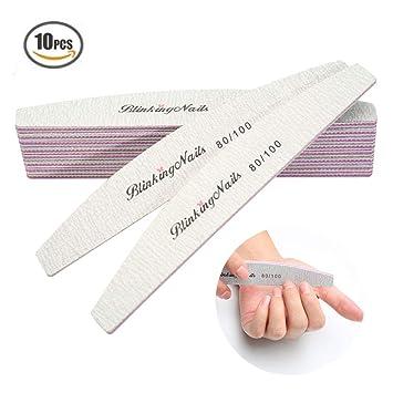Amazon.com : Abrasive Nail File 80/100 Grit 10Pcs Acrylic Nail Files ...
