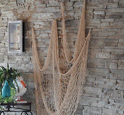 Dngdom Dekoration Fischnetz mit Muscheln Maritime Deko150cm*200cm (Weiß)
