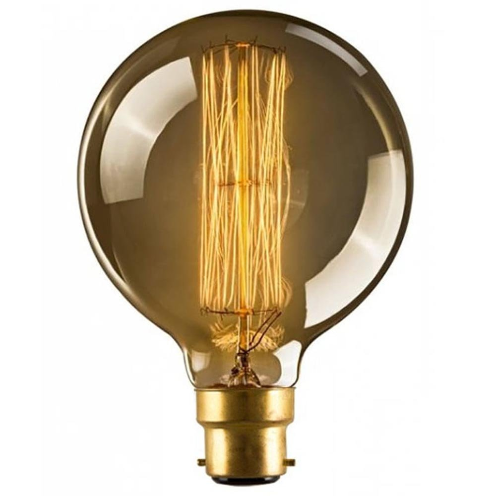 Globe XL B22 40W Warm Rustic Dimmable Light Bulb Squirrel Cage Filament, Bayonet Vintage Incandescent Edison Electric Light, Create The Perfect Atmosphere For Bar Restaurant Coffee Shop And Home Use LOMT