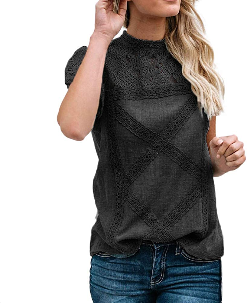 F/_Gotal Shirts for Women Lace Patchwork Ruffles Short Sleeve Casual Tunic Blouse Tops Womens Summer Tops Plus Size
