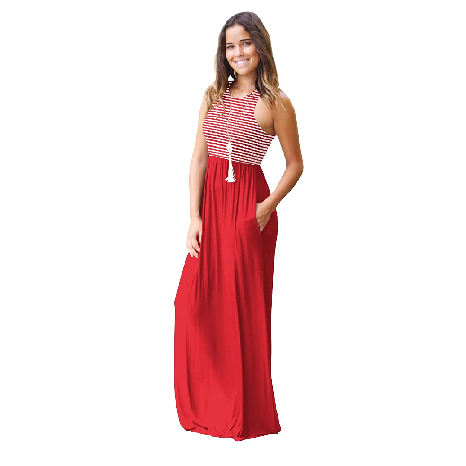 2019 authentic incredible prices best shoes Minma Women Sleeveless Tunic Maxi Dress Racerback Plain Swing Maxi Dresses  Casual Long Dress with Pockets
