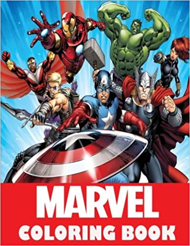 Marvel coloring Book: Super Heroes, Avangers, Spider-Man, Hulk, Thor ...