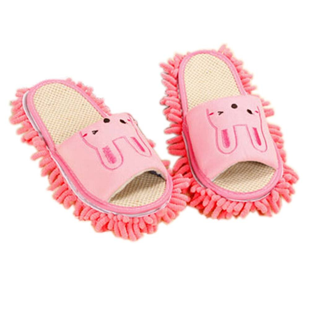 Lovely Animal Microfiber Magic Cleaning Slippers, Pink Rabbit, Feet Length 24CM by Panda Superstore (Image #1)