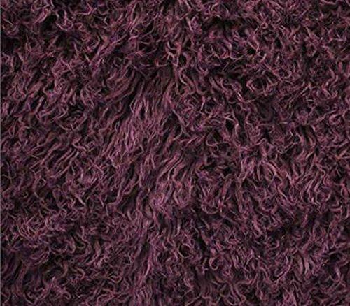 Faux Fake Animal Solid Fur Fabric Long Pile Curly Alpaca Plum / 60