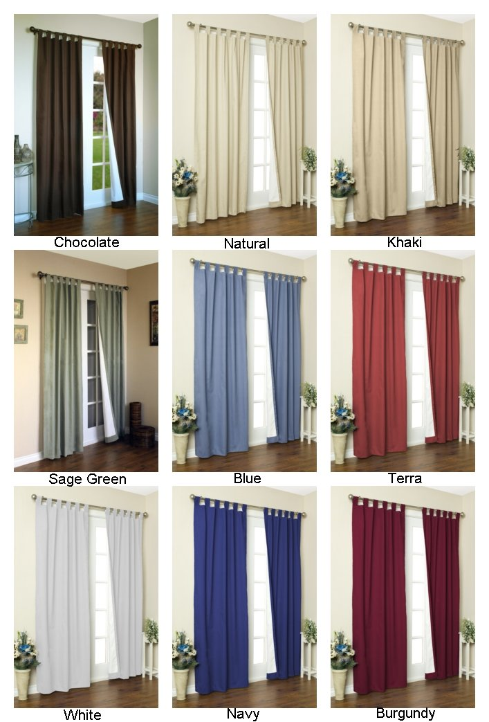 80 x 72 80 x 72 Commonwealth Home Fashions 9186 Thermalogic Weathermate Insulated Tab Top Curtain Pair-Natural