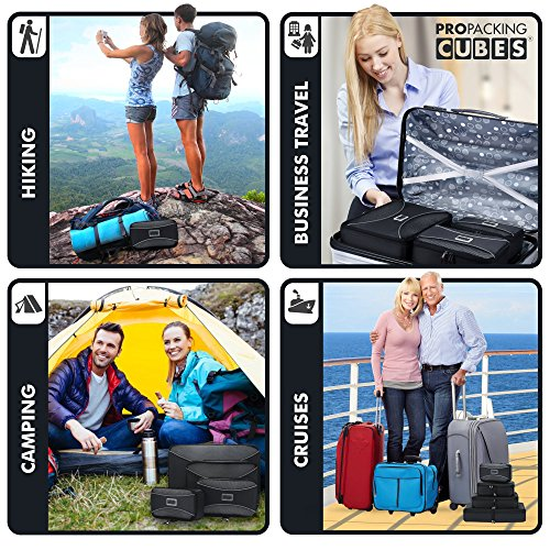 PRO Packing Cubes - 4 Pc Lightweight Travel Packing Cube Set - Organizers and Compression Pouches System for Carry-on Luggage Accessories, Suitcase and Backpacking. Small, Medium & Large (x4 Graphite)