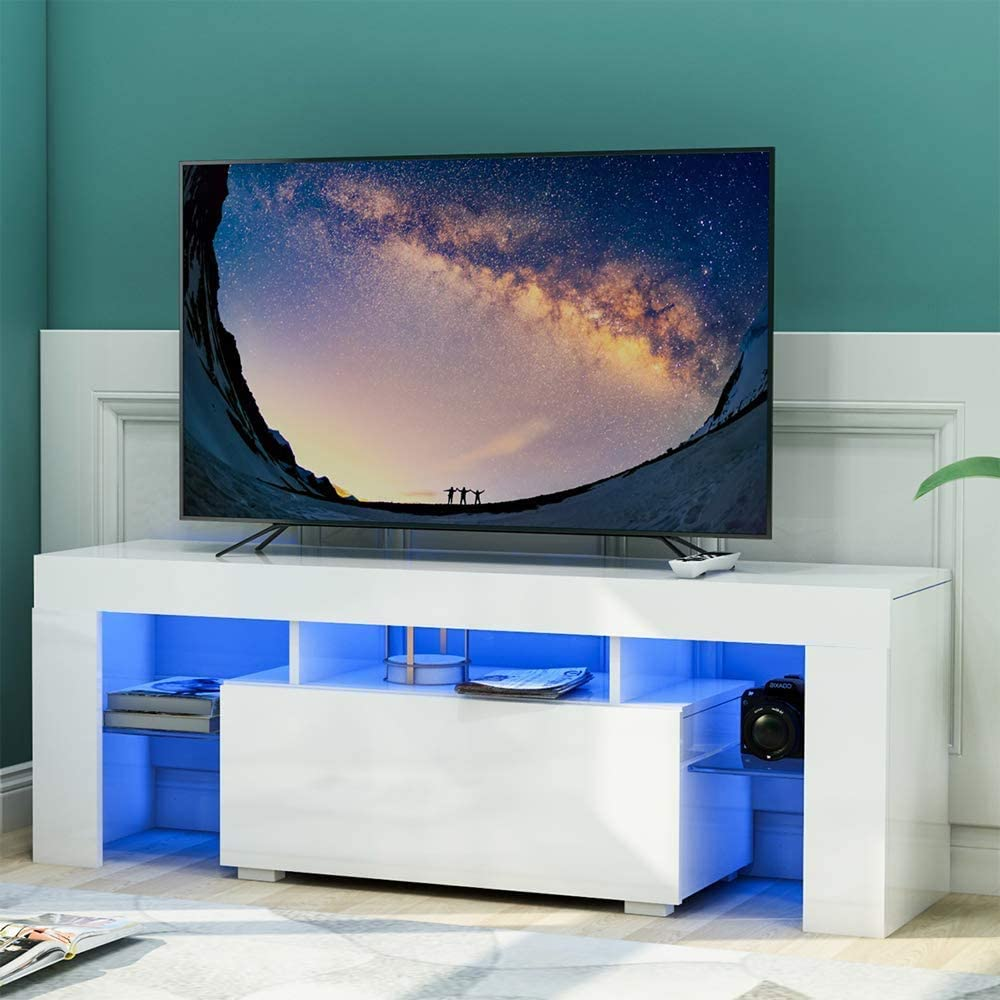 SSLine High Gloss TV Stand with LED Lights,Modern TV Stand for 51 Inch TV Console Storage Cabinet with Drawer and Open Shelf,Television Stand Entertainment Center Console Table (White)