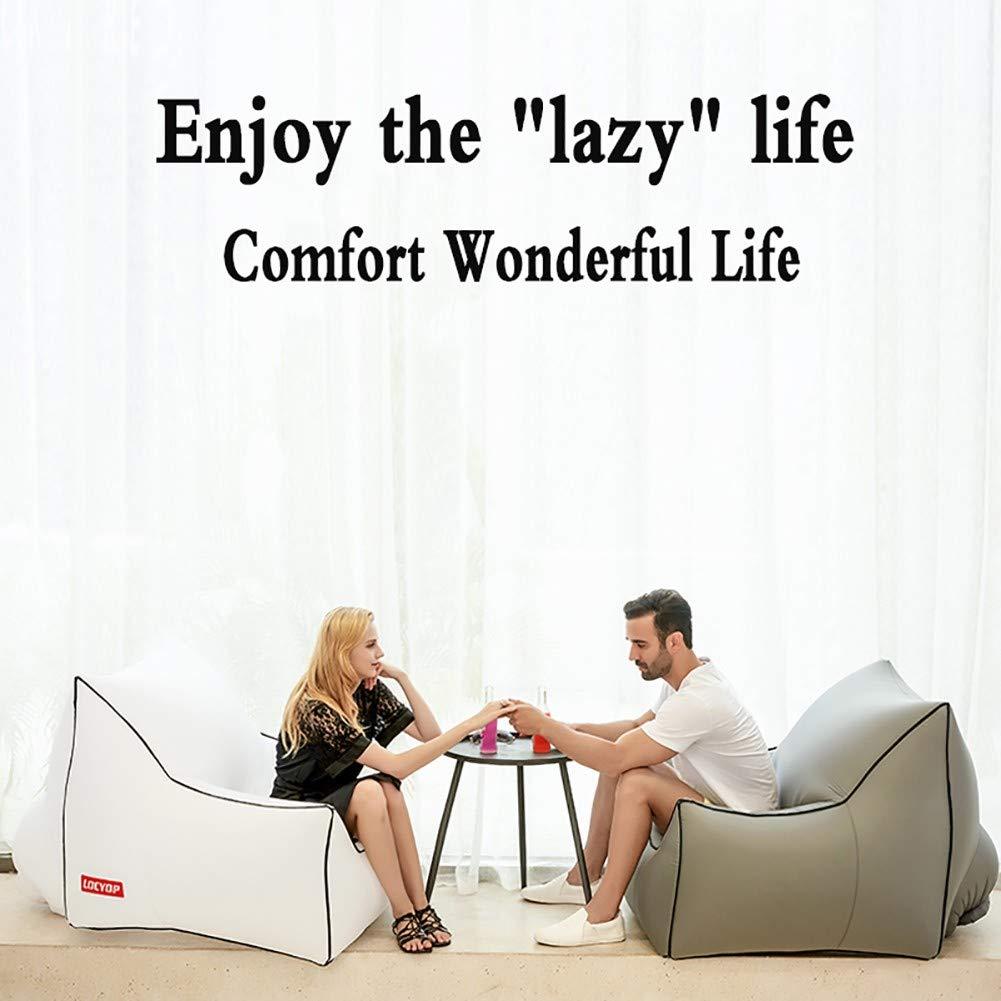 GYGDJ Lazy Aufblasbares Schlafsofa - Luftaufbewahrungstasche - Tragbarer Lazy Air Lounger Lounger Air - Einzelschicht-Luftfallschirm-Nylonmaterial - Halten Sie bis zu 200 kg 9e4586