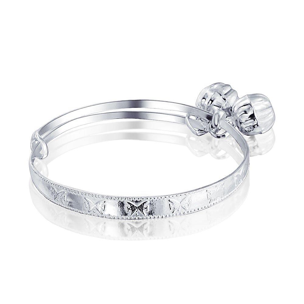 Bling Jewelry 925 Silver Jingle Bell Butterfly Baby Bracelet 6.5in GB-BBF10
