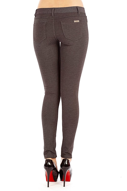 1701 Basic 5 Pocket Ponte Skinny Pants Charcoal L