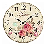 Wood Wall Clock, 12 inches Retro Style Non Ticking Silent Quartz Decorative Wall Clock for Room and Kitchen