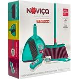 Kit de Limpeza Noviça com 5 peças (Vassoura Fácil com Cabo, Clipá + Escova, Escova Multiuso e Escova Longo Alcance)., Noviça