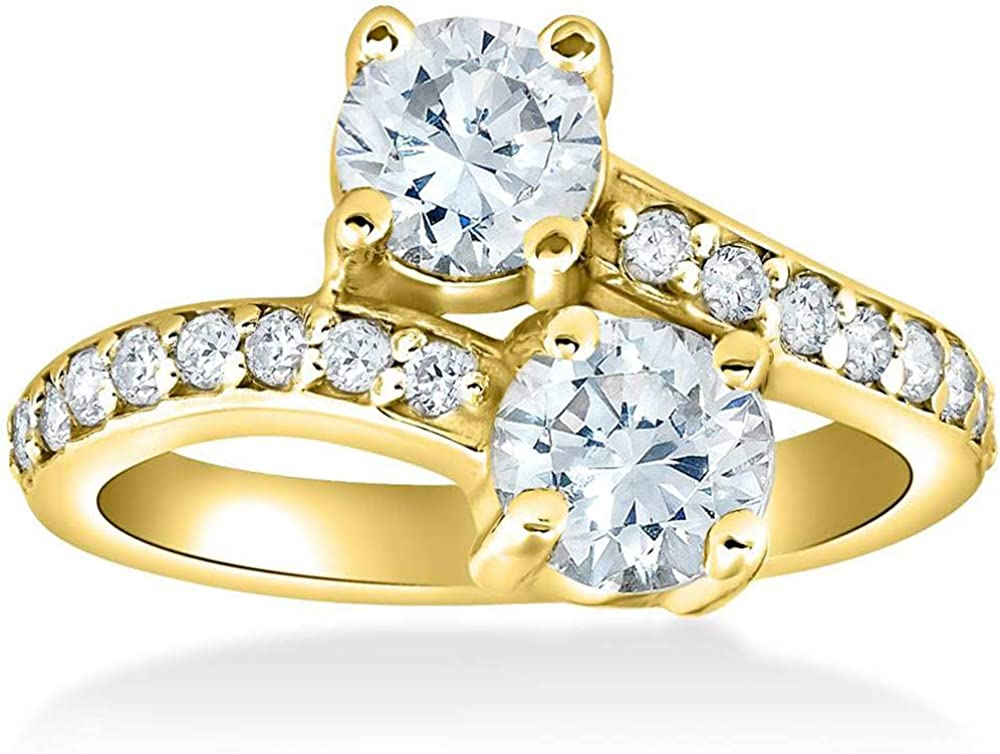 2 Ct Forever Us 2 Stone Diamond Engagement Ring 14k Yellow Gold Amazon Com