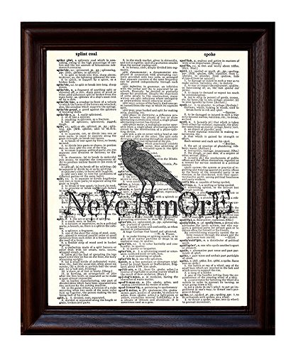 Fresh Prints of CT Dictionary Art Print - Edgar Allen Poe Nevermore - Printed on Recycled Vintage Dictionary Paper - 8x11 - Mixed Media Poster on Vintage Dictionary Page