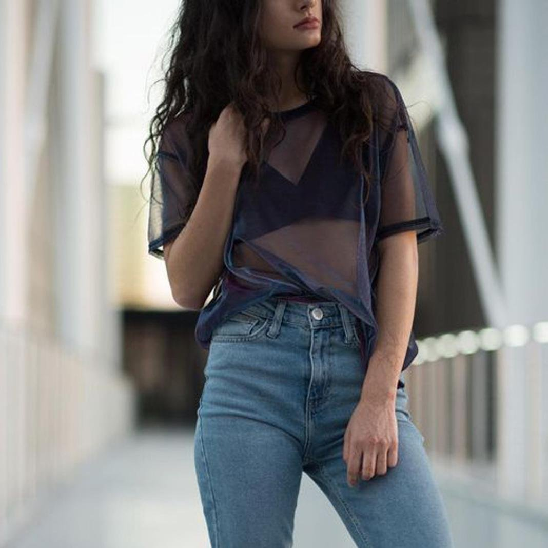 TOPUNDER 2018 Women Hollow Blouse Black Transparent Round Neck Top Short Sleeve T-Shirt