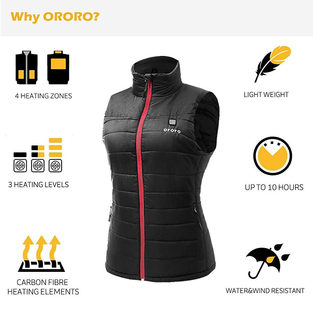 Heating Clothes Amazon Com >> Ororo Women S Lightweight Heated Vest With Battery Pack