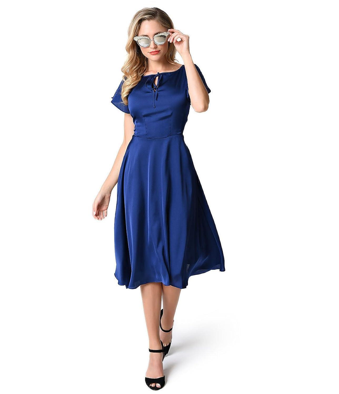 Unique Vintage 1940s Style Royal Blue Cap Sleeve Formosa Swing Dress