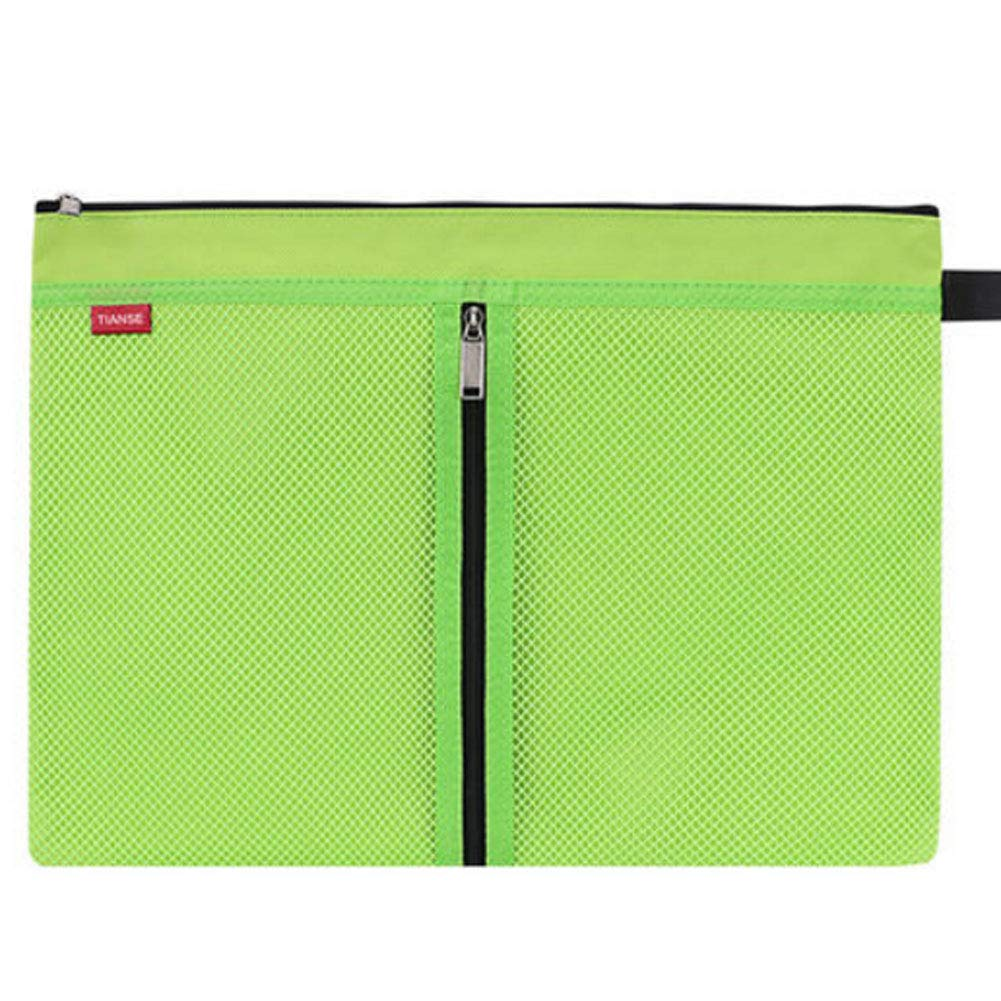 Multifunctional A4 Zip File Folder Mesh Document Bag Storage Pouch with Zipper, Office Stationery,O