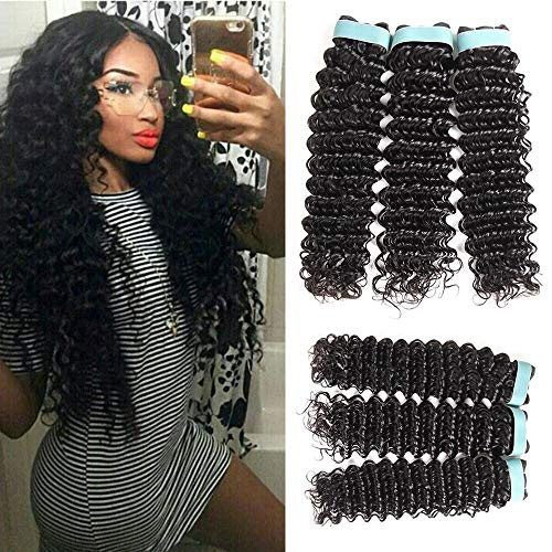 Lace Rosa 9A Brazilian Virgin Hair Deep Wave 3 Bundles (18 20 22) 100% Unprocessed Natural Color Can Be Dyed and Bleached