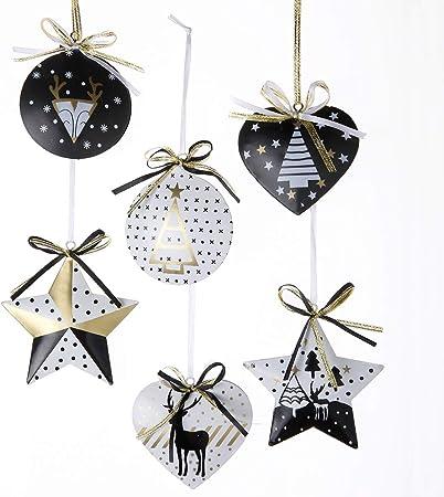 Wedestock Lot De 6 Sujets De Noël Métal Doré Blanc Et Noir à Accrocher Coeur étoile Boule