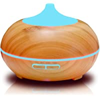 Wood Grain Essential Oil Diffuser, HogarTech Cool Mist Electric Aroma Spa Ultrasonic Aromatherapy Humidifier, Perfect for Home Office Gift Ideas