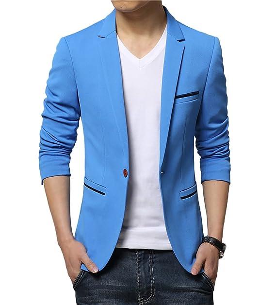 6c37d07adc Insun Hombre Chaqueta Slim Para Hombre D Algodón Fino Estilo Casual Solido Blazer  Azul 48  Amazon.es  Ropa y accesorios