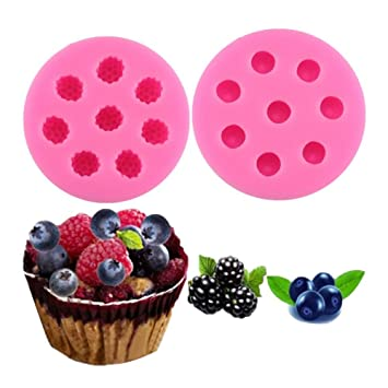 2 moldes de silicona para fondant de arándanos azules y frambuesas, moldes decorativos para repostería, galletas, pastelería, chocolate, dulces, ...