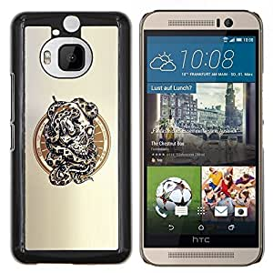 Qstar Arte & diseño plástico duro Fundas Cover Cubre Hard Case Cover para HTC One M9Plus M9+ M9 Plus (Serpiente Cráneo)