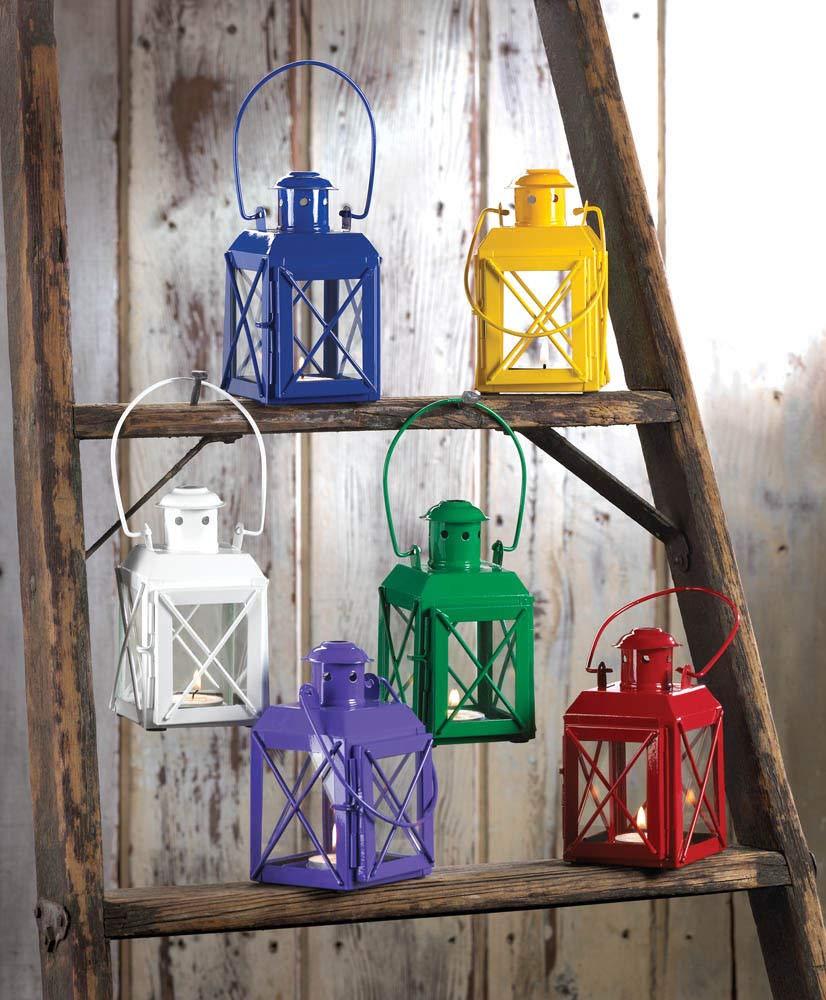 ROX Luxury House 2 Purple Railway Style Tealight Candle Lantern Lamps Handles amp; Hinged Doors