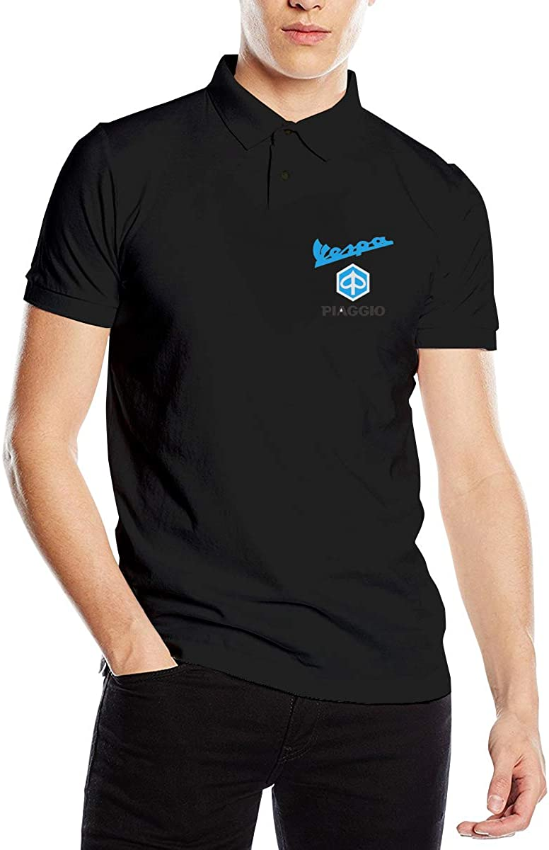 Runxin Piaggio Vs Vespa Motorcycles Logo Fashion Polo T-Shirt Short Sleeve for Man Black