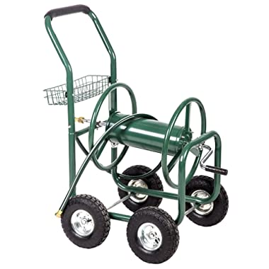 BestMassage Garden Water Hose Reel Cart Garden Cart with Heavy Duty 300FT Hose Yard Water Planting