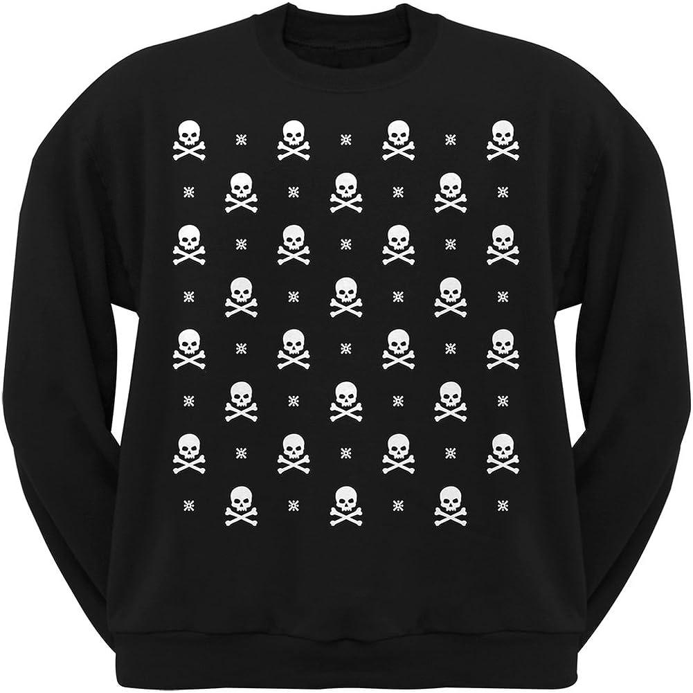 Old Glory Skull and Crossbones Snowy Ugly Christmas Sweater Black Adult Crew Neck Sweatshirt
