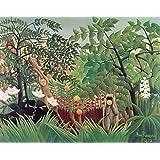 Spiffing Prints Henri Rousseau - Rousseau Exotic Landscape Vintage Fine Art Print - Extra Large Vintage Wall Art Poster Picture Giclee Artwork Modern Contemporary & Fine Art Print