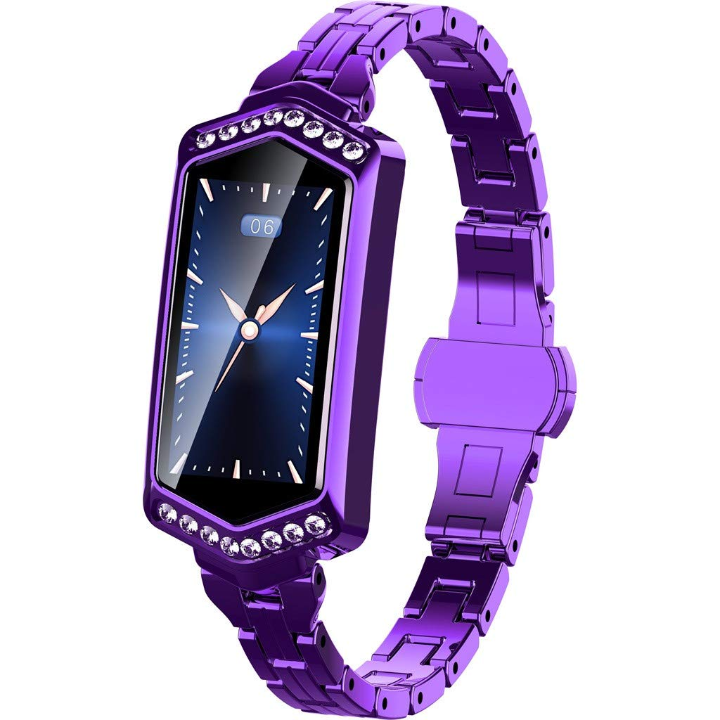 CSSD Fitness Tracker with Heart Rate Monitor, Luxurious Smart Watch, Pedometer Watch, IP67 Waterproof Smart Watch, Sleep Monitor, Blood Pressure Test, Step Tracker for Women (One Size, Purple)
