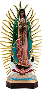 "17"" Virgin Guadalupe Statue Handpainted by Mexican Artisans, Artesanias Agape"