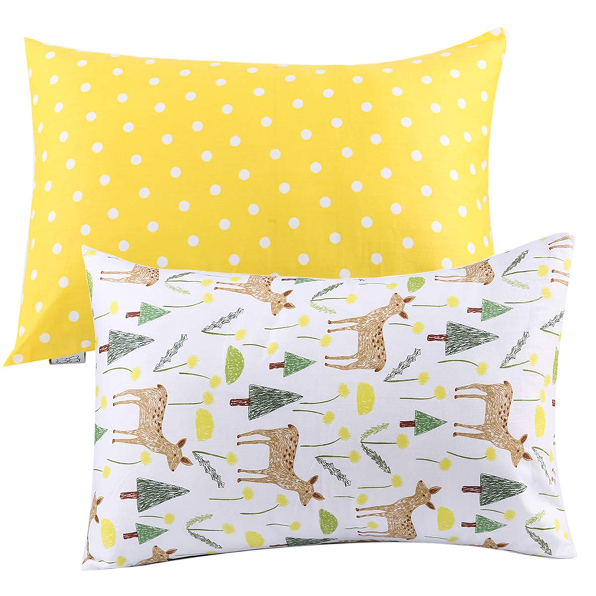 Kids Toddler Pillowcases UOMNY 2 Pack 100% Cotton Pillow Cover Cases13 x 18 for Kids Bedding yellow dot/ deer