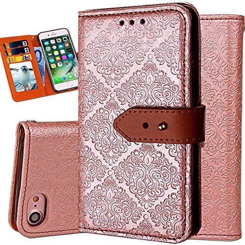 iPhone 8 Purse Case,Auker Vintage Leather Folio Flip Wallet Stand Case Book Design Shockproof All-Around Protective Cover Skin with 3 Card Holders&&Hidden Pocket for Women/Men for iPhone 7 (Gold)