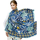 Women's Fashion Luxury Pure Wool Winter Scarves Printing Wraps Bandana(120cmx120cm),1#