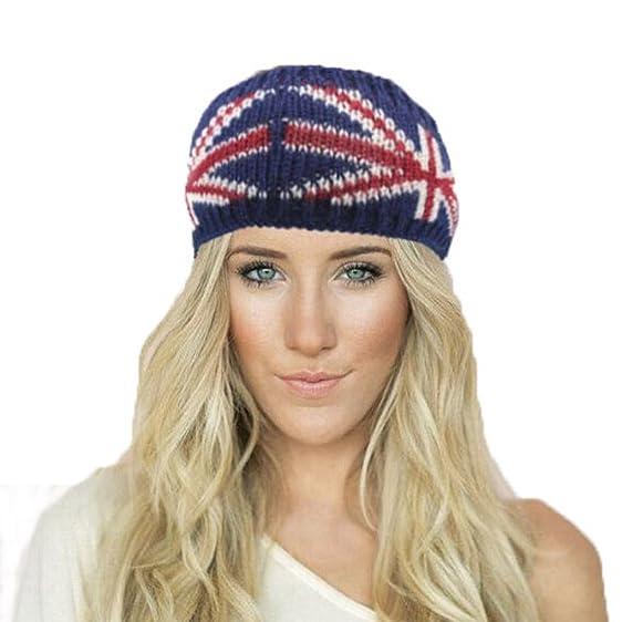 Women Wool Knitted Crochet Headwrap With Flag Pattern Boho Turban